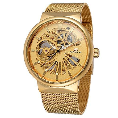 XLORDX Luxus Herren Sport Armbanduhr Minimalistic Analog Mechanische Automatik Ultra dünn Gold Edelstahl Mesh Band Uhren