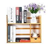 ZMSJ-YJ Bambus Massivholz Einfache Bücherregal Desktop Regal Desktop versenkbare Bücherregal mit Schublade Bücherregal (Größe : 69 * 19.5 * 46cm)