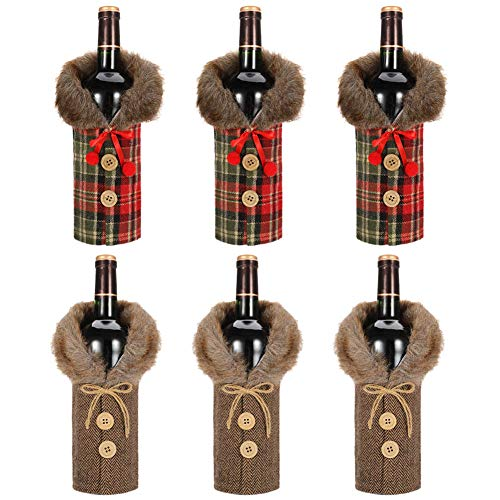Tanersoned 6 Pcs Cubiertas Botellas Vino Navidad
