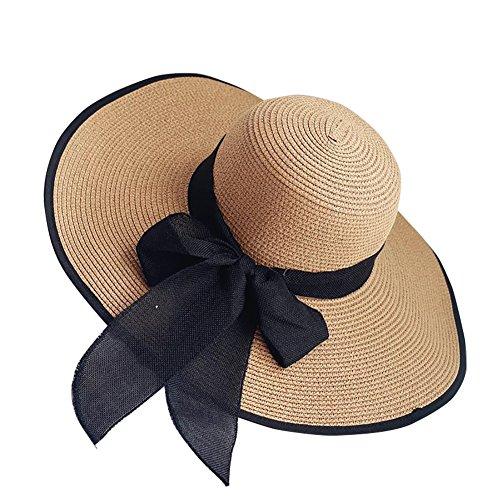iShine Sonnenhüte Damen Mädchen UV-Schutz Kappe Sandstrand Strandhut Atmungsaktiv mit Groß Krempe Strohhut Die übertragbarkeit Faltbarer Band Knoten Schmetterling Anhänger Reisen Kaffeebraun