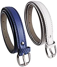 Krystle Women's PU Leather Belts (KRY-WOM-BLU-WHT-BELT, Blue and White, Free Size, Pack of 2)
