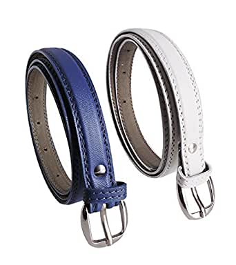 Krystle Women's Combo Set Of 2 PU leather belts Blue & White)