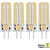 Sunix 6.5W GY6.35 LED, 72 2835 SMD LED, 50W alogene lampadine equivalenti, 320lm, Oscurabile, bianco caldo, 3000K, 360 gradi angolo del fascio, mais silicone lampadina, confezione di 4 unit¨¤ SU138 [Classe energetica A +]