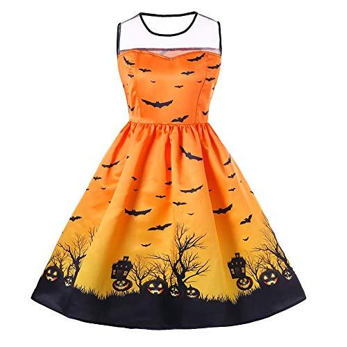 OdeJoy Frau Halloween O-Ausschnitt Ärmellos Kleid Gedruckt Jahrgang Kleid Party Kleid Hoch Taille...