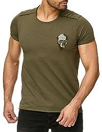 Redbridge Herren T-Shirt Gestickter Totenkopf Casual Freizeit Stretch Shirt b02fc02a23