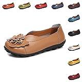 Gaatpot Damen Blumen Mokassins Atmungsaktiv Leder Bootsschuhe-Loafers, Dunkel Blau, Gr.- 40.5 EU/ Herstellergröße- 42