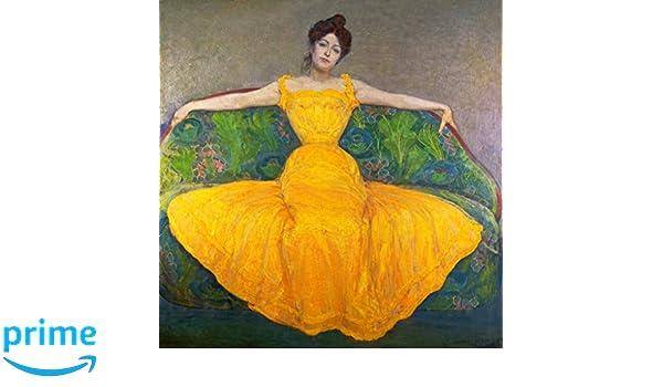 KunstdruckPoster: Max Kurzweil Dame in gelbem Kleid