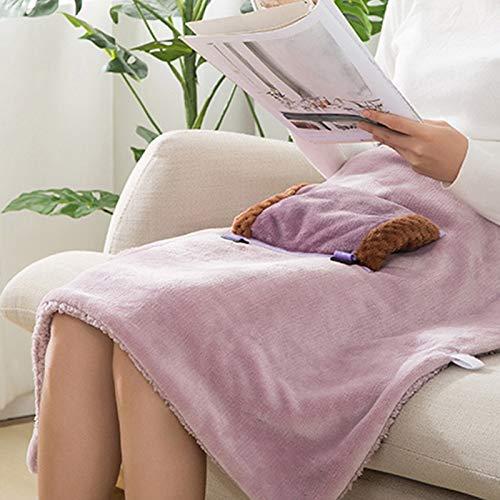 Sumtm Weicher, beheizter Schal, elektrisch, Heizdecke, USB-betrieben, für den Winter, tragbar mit Schlitzen violett