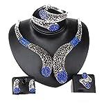 18K Versilbert Blau Spirale Mode Damen Ohrringe Halskette Schmuckset Geschenk Für Fraunen & Mädchen