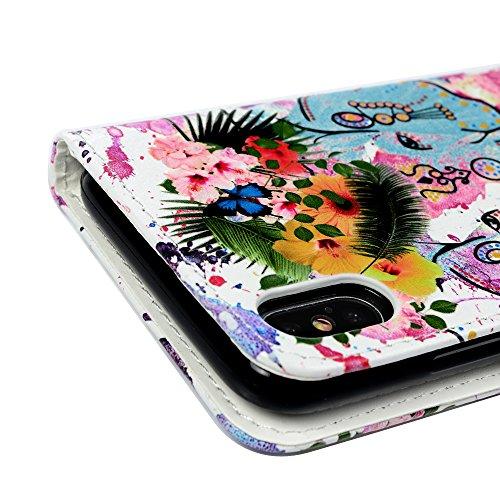 Badalink Hülle für iPhone X Gemalt Eule Handyhülle Leder PU Case Cover Magnet Flip Case Schutzhülle Kartensteckplätzen und Ständer Handytasche mit Eingabestifte und Staubschutz Stecker Elefanten