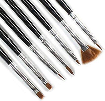 Make-Up Pinsel,Binggong Viele 7 Acryl Design Nail Art Liner Malerei Zeichnung Stift Pinsel Werkzeuge BL Stift 7PC Schwarzer Nagelkunst Mode Schminkpinsel Makeup (18cm, Schwarz) (Weiche Acryl-pinsel)