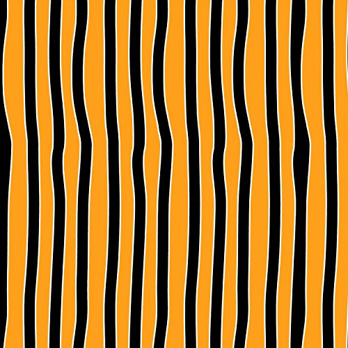 Henry Glas Halloween Stoff mit Streifen-Glow in The Dark Orange Schwarz Streifen-hg49-0,5Meterware-von 100% Baumwolle