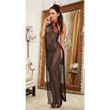 Antique Sexy Perspective Cheongsam Chinese Style Split Long Dress Underwear (Free Size)
