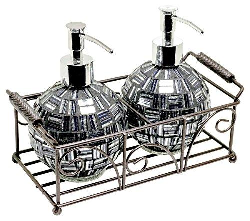 Febland Mosaico in Vetro Dispenser Di Sapone Set, argento/nero