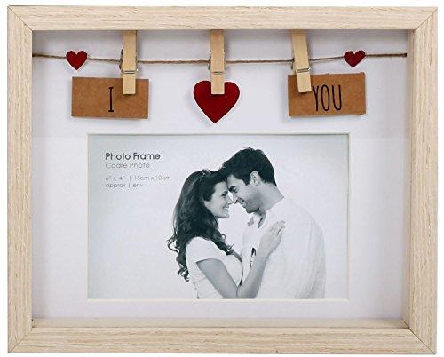 men aus Holz mit Klammern für 6x4Foto, holz, I Love You ()