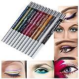 Delineador de ojos y lápiz de labios,Internet 12 colores brillo de la ceja de la sombra de la pluma determinada del cosmético