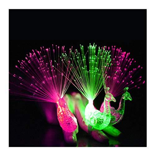 Dsaren Finger Licht, 12 Pcs LED Party Zubehör Super Helle Pfau Licht Finger Mitgebsel für Täntze, Halloween, Weihnachts, Geburtstag Party