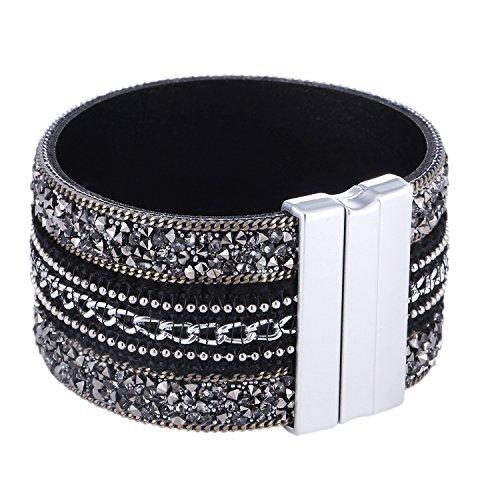 Morella bracciale donna largo decorato con zirconi e strass e con chiusura magnetica nero argento
