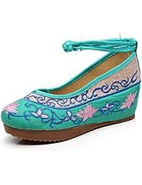 Fanwer Bordado de La Flor de Las Mujeres de Verano Cómodo Caminar incrementado Cuñas Zapatos Planos