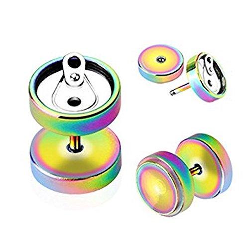 1 x Regenbogen Titanium überzogener Koks kann Soda Chirurgischer Stahl 1.2mm Stärke Fake (Faux) Stecker Fleisch Tunnel, kann in normalem Ohr getragen werden Piercing Kein (Kostüme Soda)