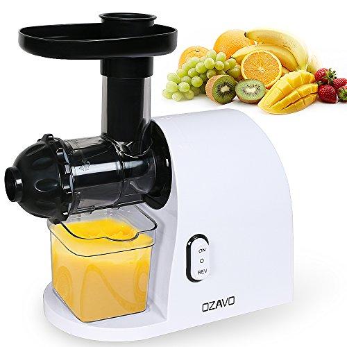 OZAVO Licuadoras Eléctrico Extractor de Zumos para Verduras y Frutas Reservar Alta Nutrientes Exprimidor Velocidad Lenta de 90 RPM con 2 Jarra para Zumo y Residuo, 200W, sin BPA