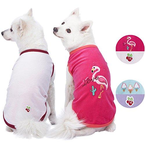 Blueberry Pet Doppelpackung Weich & Angenehm Urlaubsszene Flamingo Baumwoll-Mischgewebe Hundepyjamas & Hemd T-Shirts, Rückenlänge 41cm, Bekleidung für Hunde -