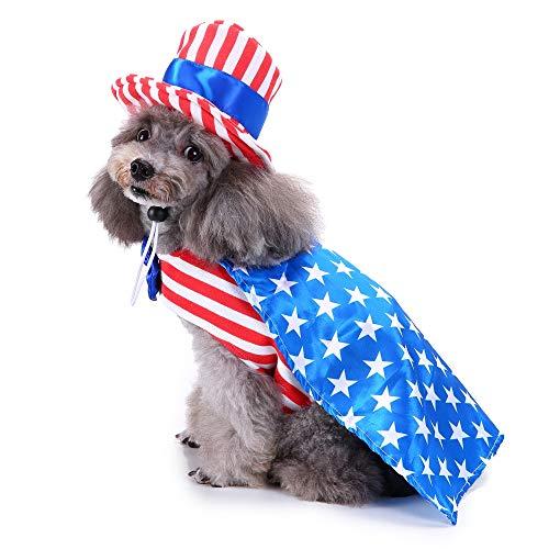 Vevins Haustierkostüm für Halloween, für kleine Hunde, Katzen, Welpen, L, Uncle Sam Boy - Kleiner Cowboy-hut Hund