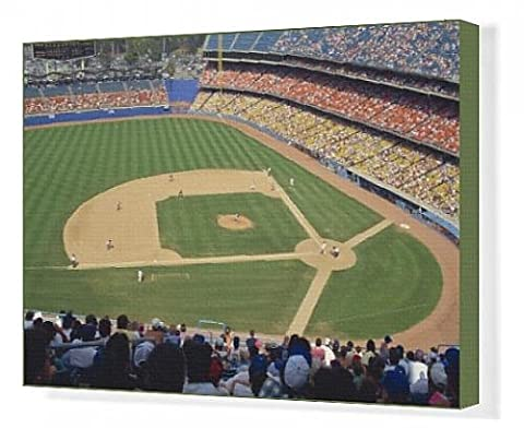Canvas Print of Crowds watch baseball game at the Dodgers Stadium in Los Angeles