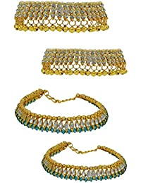 High Trendz Combo Of Two Bollywood Style Ethnic Gold Plated Anklets With Ghungroos, Cz Stones And Kundan Studded... - B06XJ2525K