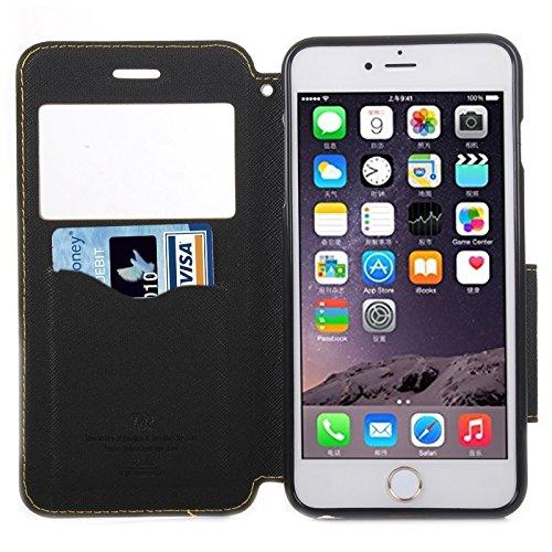 Wkae Case Cover Roar Kreuz Textur-Schlag-Leder-Kasten mit Halter & Karten-Slot & Anrufer-ID-Fenster für das iPhone 6 ( Color : Yellow ) Yellow