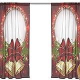 FFY Go Voile-Vorhang, Weihnachts-Muster, mit Glocken, gemustert, durchscheinendes Fenster, weiches Material, extra lang für Schlafzimmer, Wohnzimmer, Küche, Dekoration, Haustür, 2 Paneele, 198 x 139,7 cm