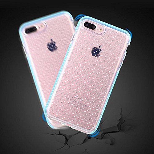 iPhone 8 Hülle,iPhone 7 Hülle, X-Level TPU Fallschutz Schock Handyhülle Schutzhülle für iPhone 7/8(Transparente+Schwarz) Blau