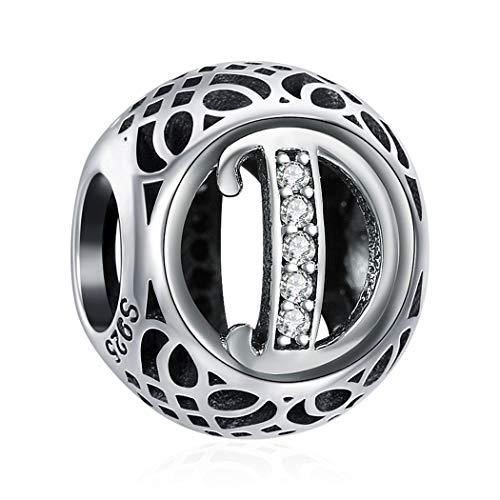 D Bead Charms für Damen 925 Sterling Silber Geeignet für Armband, Neujahr Geschenke mit Geschenkbox, Nickelfrei 26 Buchstaben DIY Serie