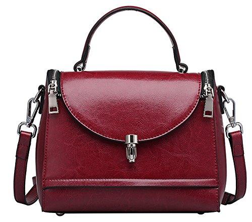 Xinmaoyuan Borse donna borsette in cuoio medico Pack cera olio tracolla in pelle Messenger portatile borsa da donna Vino rosso