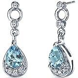 Revoni Simply Classy 1.50 Carats Swiss Blue Topaz Dangle Earrings in Sterling Silver