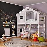 BIBEX® - Hochbett - Kinder-/ Jugendbett - Doppelbett - Etagenbett mit Spielhaus - massives Holz - hochwertige Verarbeitung - Creme-Weiß (ohne Unterbett, mit Tür und Regal)