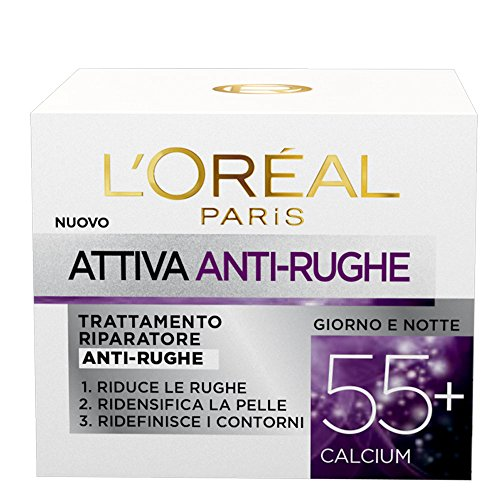 L'Oréal Paris Attiva Antirughe 55+ Crema Viso Riparatore Anti-Rughe, 50 ml