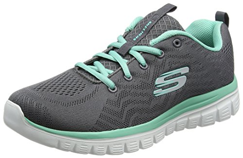 Skechers Graceful-Get Connected, Zapatillas para Mujer, Gris Grey/Turquoise, 35 EU