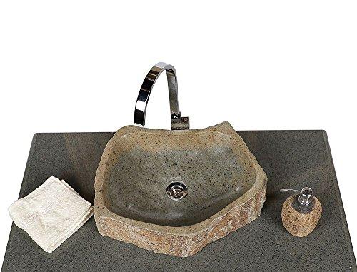 wohnfreuden Naturstein Waschbecken Megalith rund oval 45 cm poliert ✓ Stein Aufsatzwaschbecken für Gäste WC Bad ✓ Stein-Handwaschbecken für Waschplatz ✓ schnell