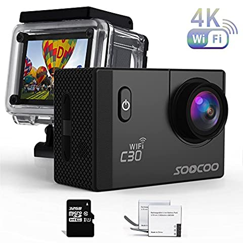 Sports Camera, SOOCOO C30 Action Camera 4K 20MP 2.0 Inch Waterproof Diving Camera with 2 Batteries and Accessories Kit Included - Black + Wifi (Micro SD Card Included)
