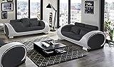 SAM Garnitur Vigo 2 teilig, Schwarz/weiß, Couch aus Kunstleder