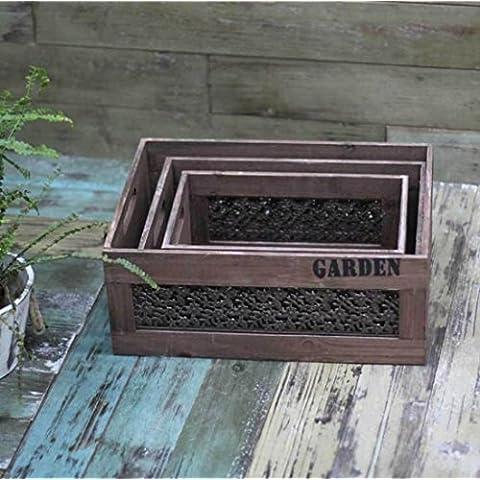 New day-Rural decorazione scatola di immagazzinaggio casa casa giardino giardino Jiutao , wood color , l