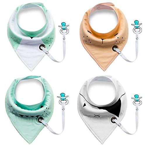 Dreieckstücher Baby Lätzchen Halstücher Kleinkinder mit Schnullerkette für Mädchen oder Junge -4 Stück (Schnuller ist nicht enthalten) (Schnuller Newborn Mit Clip)