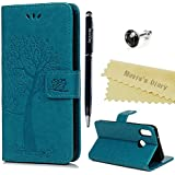 Huawei P20Lite Case Mavis's Diary Owl Tree Pattern Leather Flip Case Cover Protective Leather Case Skin Stand Cover Case Bumper Holster Magnetic Closure Foldable Leather Case  blue