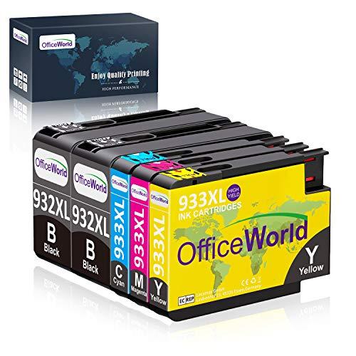 OfficeWorld Ersatz für HP 932 933 Druckerpatronen 932XL 933XL Hohe Kapazität Kompatibel für HP Officejet 6100 6600 6700 7110 7610 7612 [Bitte beachten Sie 7510 7512 kann nicht verwendet werden] -