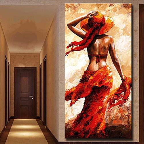 wand Handgemalt,Abstrakte Bild Malen,Afrikanischen Schwarzen Frau In Rot Orange,Größe Der Modernen Europäischen Kunst Wand Dekoration Für Eingang Wohnzimmer Schlafzimmer Büro, ()