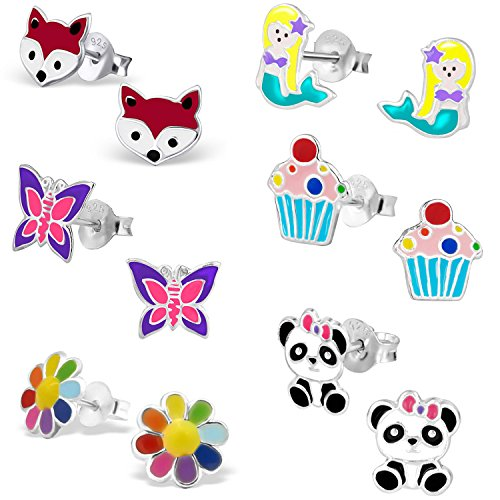 Ohrstecker-Set aus hypoallergenem Sterlingsilber Panda-Design für kleine Mädchen (nickelfrei) (White Ohren Bear)