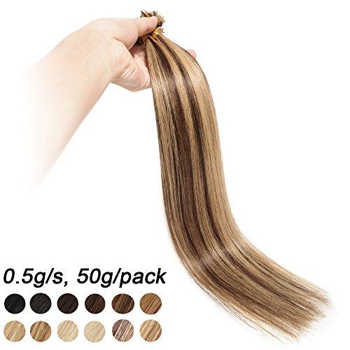 Extensions Keratine Pose a Chaud Extension Cheveux Naturel 100 Mèches/50g #4+27 Châtain Méché Blond foncé - Pre Bonded Nail U Tip Remy Human Hair Extensions - 45cm