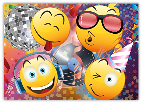 funny-invitation-cards-pack-of-12-for-boys-girls-kids-birthday-disco-party-with-smiley-emoji-postcar