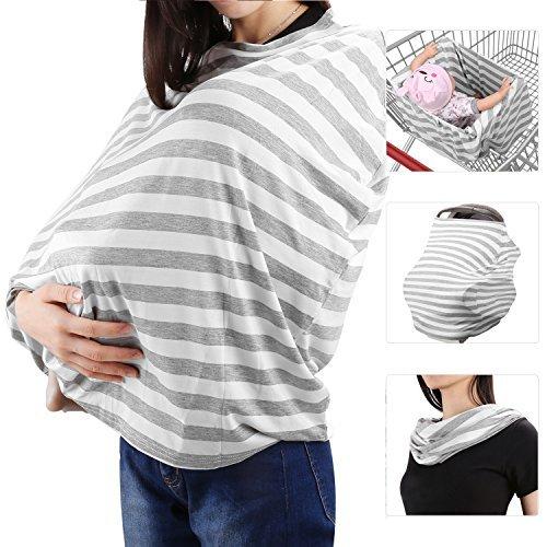 Zooawa Stilltuch Stillschal elastic Mamascarf Baby Krankenpflege Abdeckung Milkscarf zum Stillen Abdeckung, Grauer & weißer Streifen